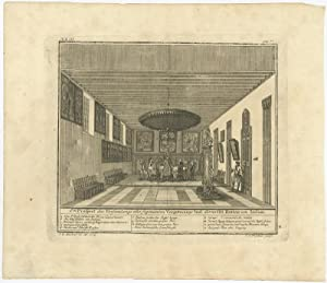 Antique Print of the conference hall of the Council of India in Batavia Castle by J.W. Heijdt (1739)