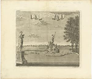 Antique Uncoloured Print of the Mansion 'Weltevreden' (Batavia) by J.W. Heijdt (1739)