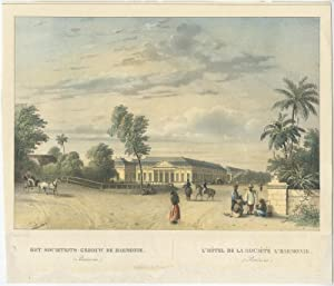 Antique Print of 'De Harmonie' in Batavia by C.W.M. van de Velde (1844)
