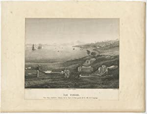 Antique Print of a Chinese cemetary (Kupang Bay) by A. Delvaux (c.1825)