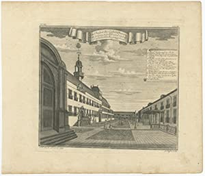 Antique print of the inner courtyard of Batavia Castle by J.W. Heijdt (1738)