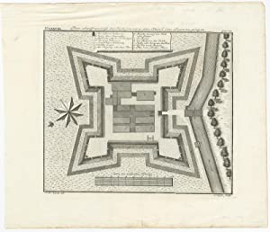 Antique Plan of the Fort of Jacatra near Batavia (Indonesia) by J.W. Heijdt (c.1744)