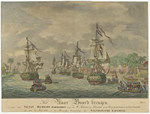 Antique Print of the Naval Battle near Palembang (Sumatra) by J.A. Lütz (c.1823)