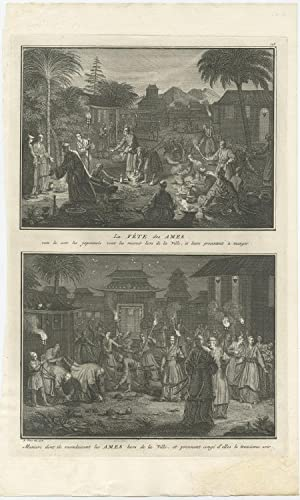 Antique Print of the Japanese Feast of Souls by B. Picart (1728)
