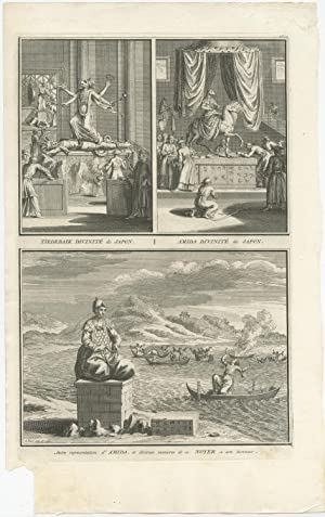 Antique Print of Deities and Religion of Japan by B. Picart (1727)