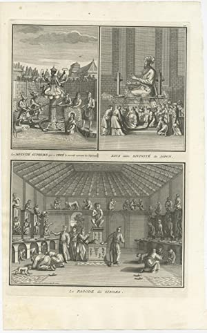 Antique Print of Japanese Deities and Pagodas (Monkey) by B. Picart (1727)