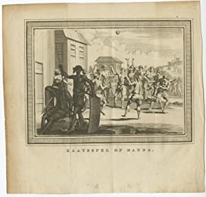 Antique Print of a Handball Game on Banda by Conradi (1786)