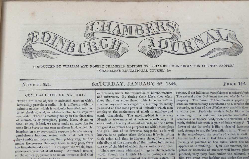 Chamber's Edinburgh Journal: Jan - Dec 1842 (Volume 11 - Numbers 521 to 572): Chambers, ...
