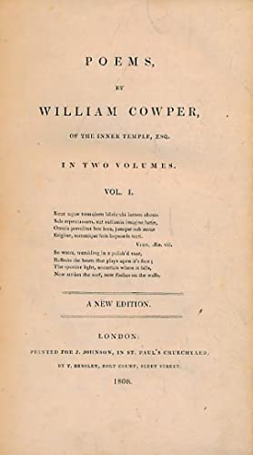 Poems by William Cowper of the Inner Temple, Esq. 2 volume set: Cowper, Willam