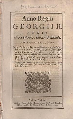 Magnae Britanniae, Franciae & Hiberniae. Vicesimo Secundo: Parliament