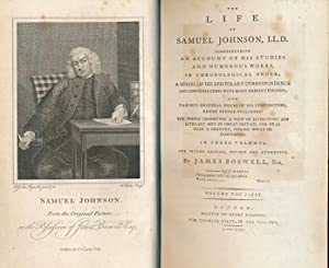The Life of Samuel Johnson. Three volume set. Associate copy. 1793: Boswell, James (Francis Barber)