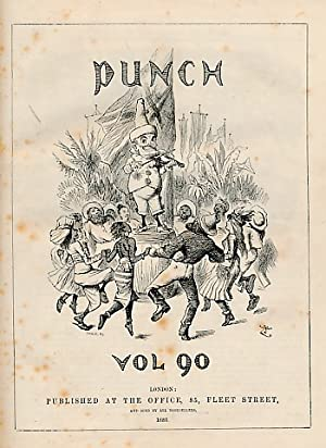 Punch, Or the London Charivari. 1886. Volumes 90 & 91. Red half-leather cover: Mr Punch