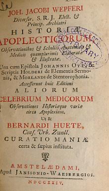 Historiae Apoplecticorum Observationibus & Scholiis Anatomicis &: Wepfer, Johann Jacob
