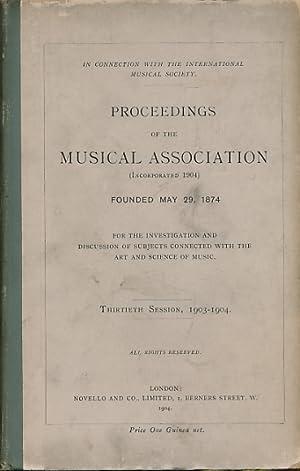 Proceedings of The Musical Association. Twenty-Eighth Session, 1903-1904: The Musical Association