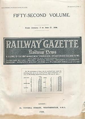 The Railway Gazette and Railway News. Volume 52, Jan - June 1930: Railway Gazette