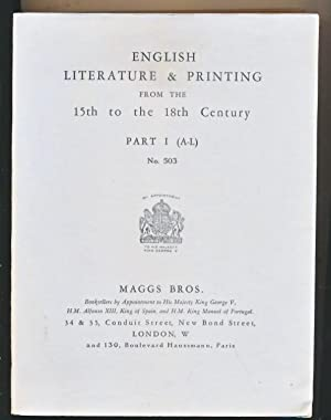 English Literature & Printing from the 15th to the 18th Century. Part I (A-L). Maggs catalogue ...
