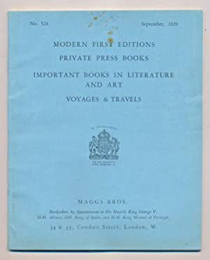 Modern First Editions. Private Press Books. Important Books in Literature and Art. Voyages and ...