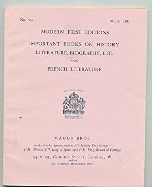Modern First Editions. Important Books on History, Literature, Biography, Etc. and French ...