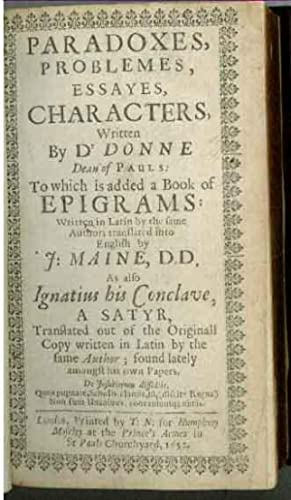 Paradoxes, Problems, Essayes, Characters, Written by Dr: Donne, [John]