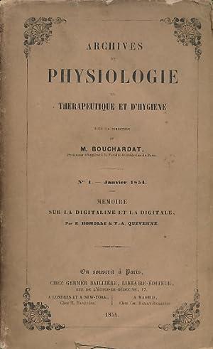 Archives de Physiologie de Thérapeutique et D'Hygiène. No. 1 Janvier 1854. M&...