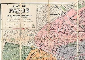 Pochette Guilmin: Nouvelle Plan de Paris [Entoilé]. Métro & Nord-Sud: Leconte, A ...