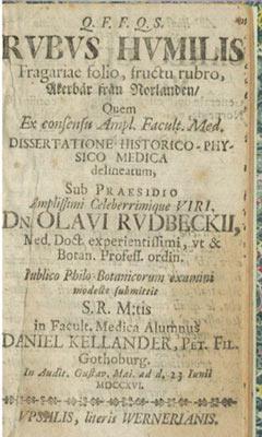 Rubis Humilis Fragariae Folio Fructo Rubro: Kellander, Daniel; Rudbeck, O