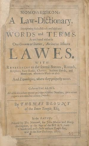 Nomo-Lexicon: A Law-Dictionary . Interpreting such Difficult: Blount, Thomas