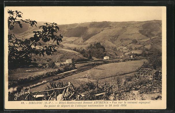 Carte postale Biriatou, Hôtel-Restaurant Bonnet Atchenia, vue