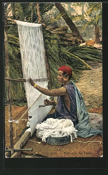 Ansichtskarte Teppich, Fabrique de Tapis, Frau beim