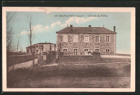 Carte postale St. Jean le Puy, L'école