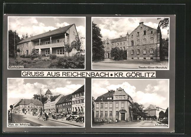 Ansichtskarte Reichenbach, Kinderkrippe, Theodor-Körner-Oberschule, Schulstrasse, Platz der