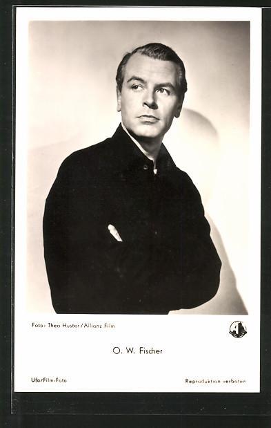 Ansichtskarte Schauspieler O. W. Fischer in schwarz