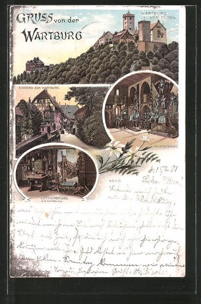 Lithographie Wartburg Ansicht Zvab