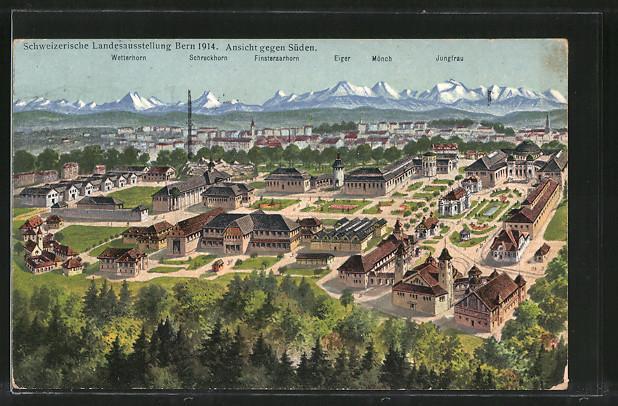 Ansichtskarte Bern, Schweizerische Landesausstellung 1914, Ansicht gegen