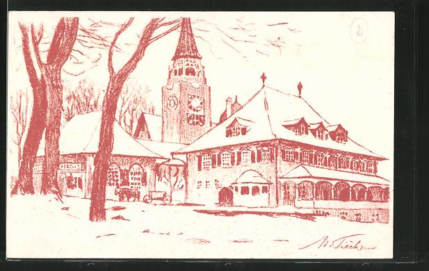 Künstler-Ansichtskarte Bern, Schweizerische Landesausstellung 1914, Blick auf