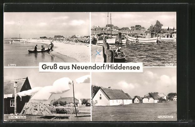 Ansichtskarte Neuendorf, Strand, Fischerhäuser, Hafen, Grosse Wäsche