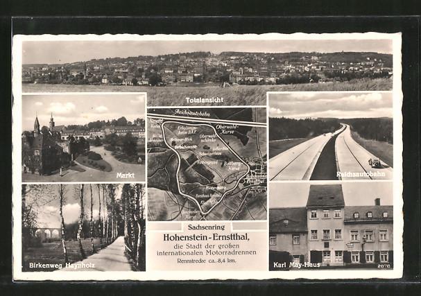 Ansichtskarte Hohenstein-Ernstthal, Markt, Birkenweg Haynholz, Reichsautobahn, Karl