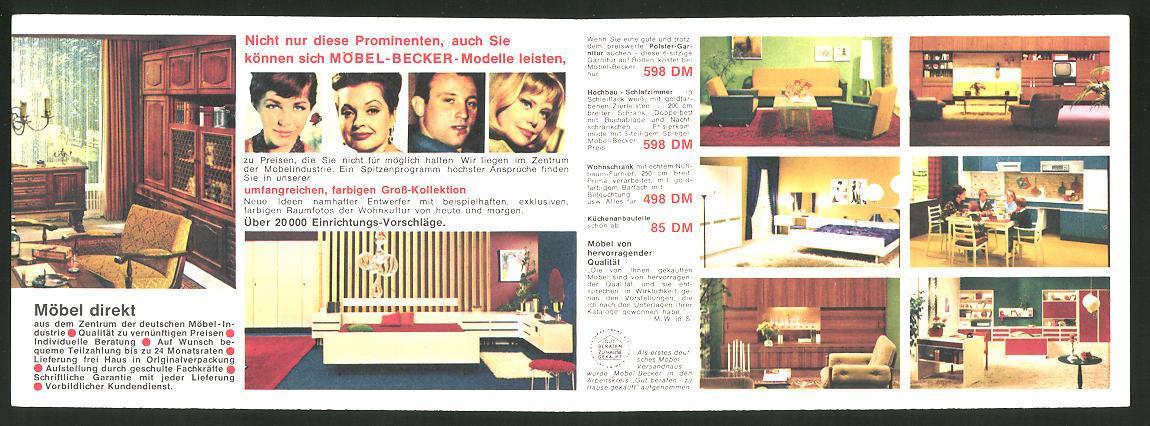 Klapp Ansichtskarte Reklame Der Fabrik Möbel Becker Kg Aus Steinheim