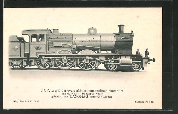 Ansichtskarte Hannomag, Hannover-Linden, 2 C-Viercylinder-oververhittestoom-sneltreinlokomotive von de