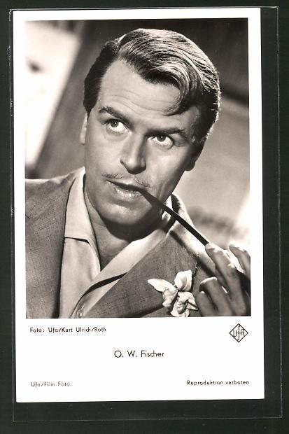 Ansichtskarte Schauspieler O. W. Fischer in edlem