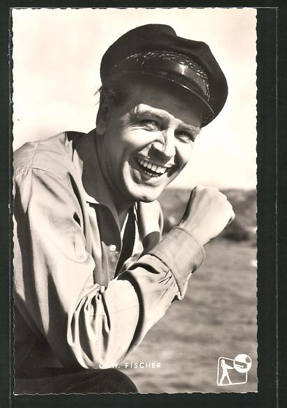 Ansichtskarte Schauspieler O. W. Fischer in Hemd