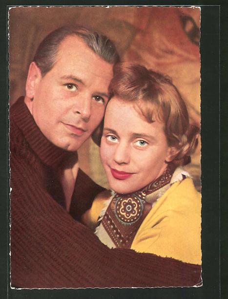 Ansichtskarte Schauspielerin Maria Schell, Schauspieler O. W.