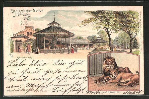 Lithographie Hamburg Zoologischer Garten Raubtierhaus Löwenpaar