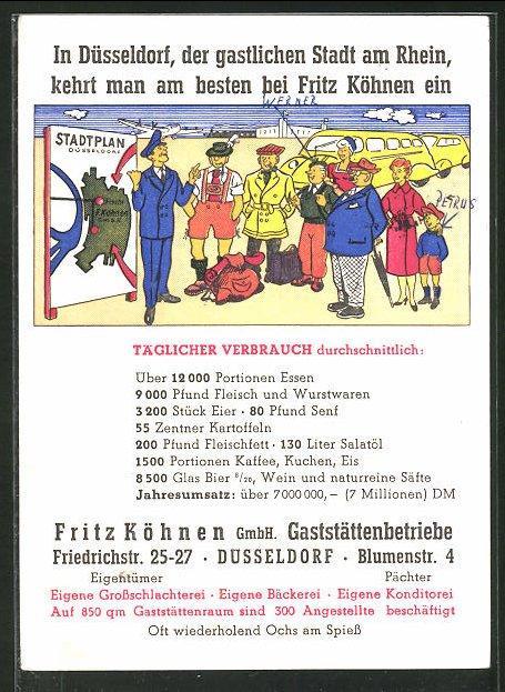 Ansichtskarte Dusseldorf Gastefuhrer Zeigt Ankommenden Touristen