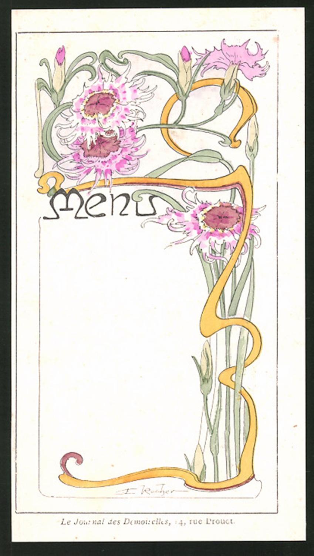 Menükarte Jugendstil Blumenverzierung Ornamente Bartko Reher