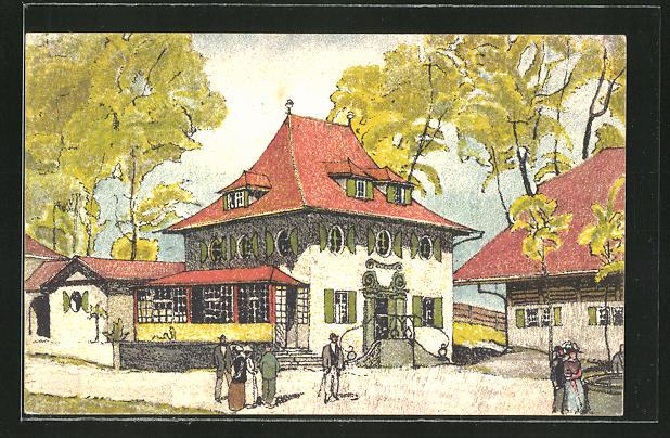 Künstler-Ansichtskarte Bern, Schweizerische Landesausstellung 1914, Haus