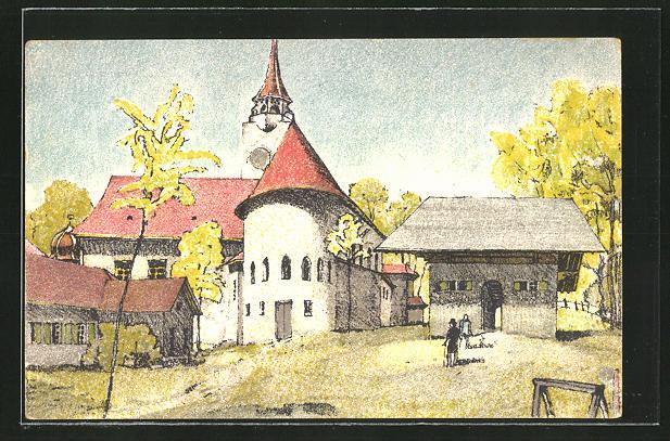 Künstler-Ansichtskarte Bern, Schweizerische Landesausstellung 1914, Teilansicht