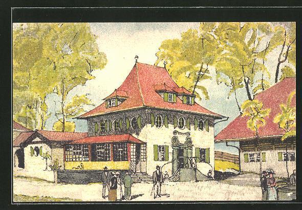 Künstler-Ansichtskarte Bern, Schweizerische Landesausstellung 1914, Gebäude