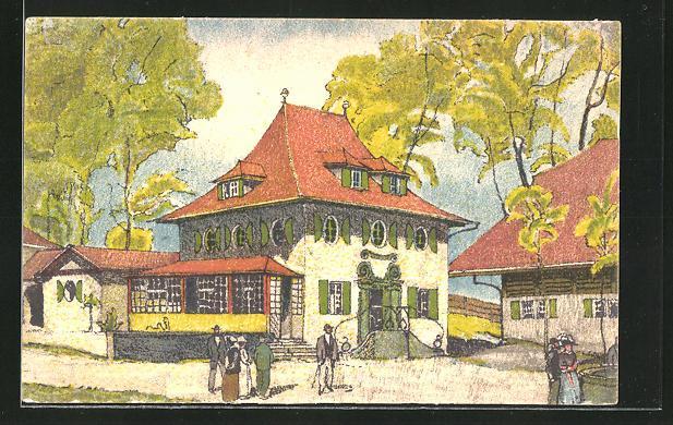 Künstler-Ansichtskarte Bern, Schweizerische Landesausstellung 1914, Gebäudeansicht