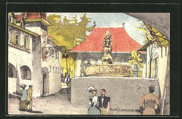 Künstler-Ansichtskarte Bern, Schweizerische Landesausstellung 1914, Strassenpartie mit